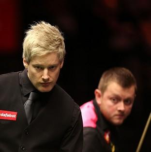 Neil Robertson, left, edged past Mark Allen, right, to reach the quarter-finals