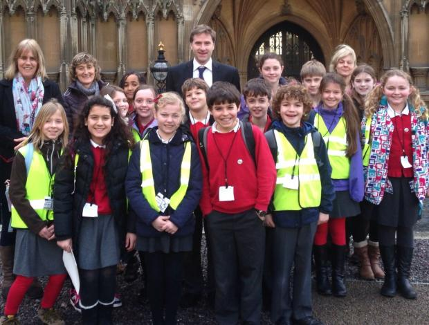 Hampshire Chronicle: The children outside Parliament with MP Steve Brine