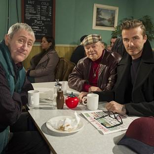 David Beckham joins Sir David Jason and and Nicholas Lyndhurst as a guest in a special Only Fools And Horses sketch