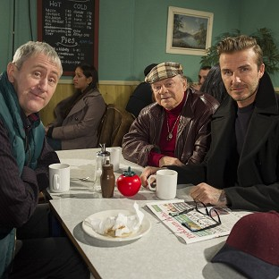 David Beckham joins Sir David Jason and Nicholas Lyndhurst for a special Only Fools and Horses sketch reuniting Del Boy and
