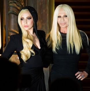 Lady Gaga and Donatella Versace attend the Atelier Versace Spring-Summer 2014 Haute Couture fashion collection