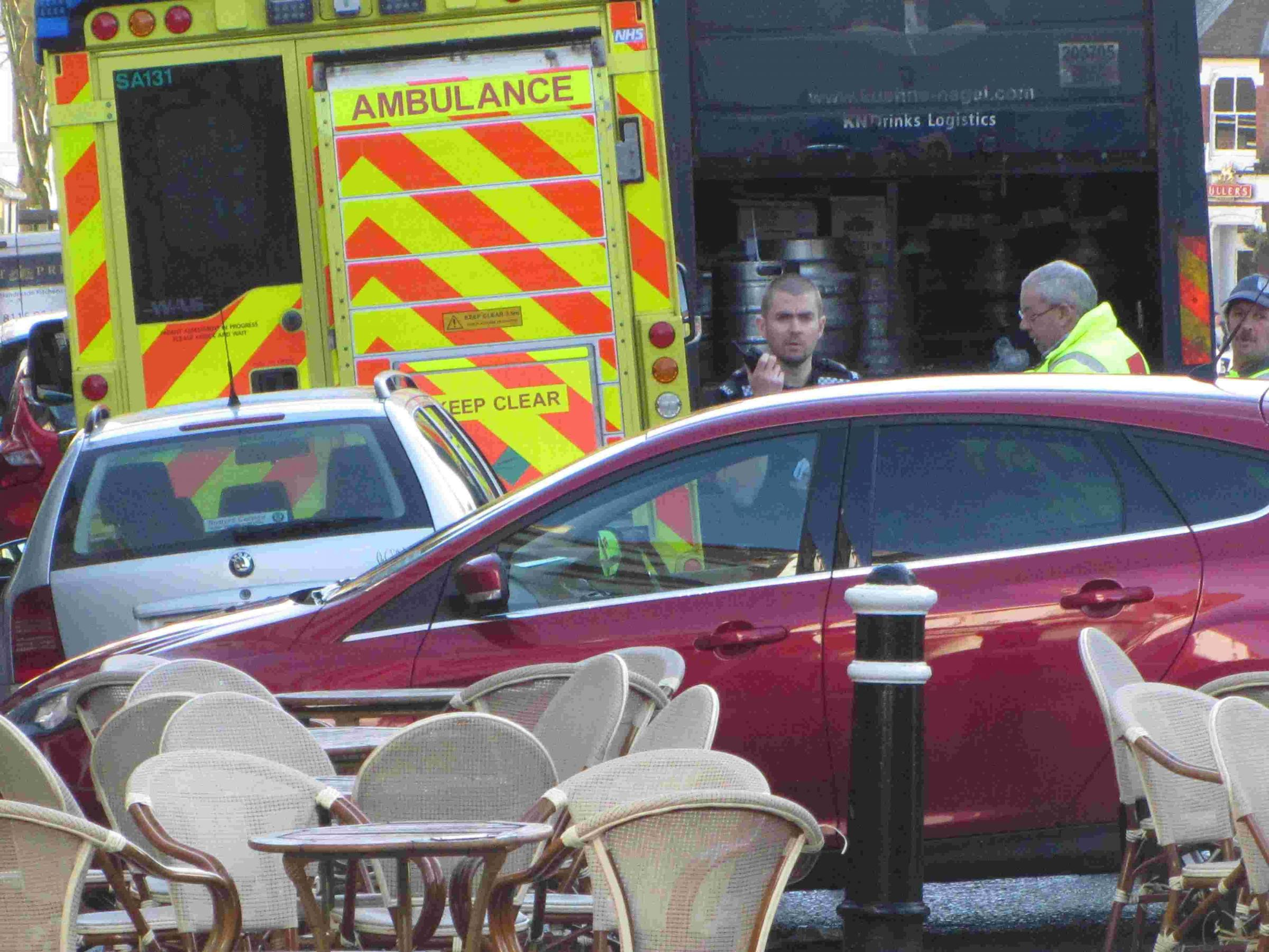 Dustcart and car collided in Winchester city centre