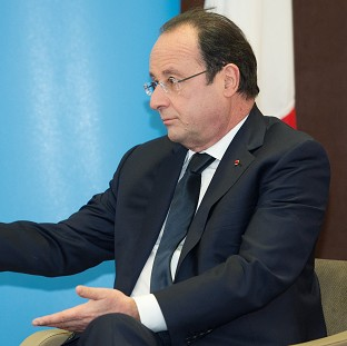 French president Francois Hollande during a meeting with Prime Minister David