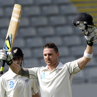 Brendon McCullum ended the opening day unbeaten on 143 (AP)