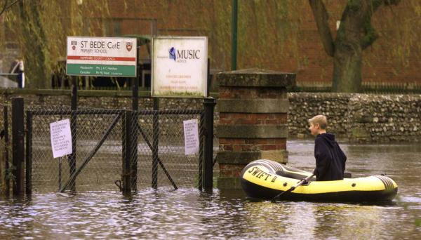 Flooding at St Bede's School in 2000