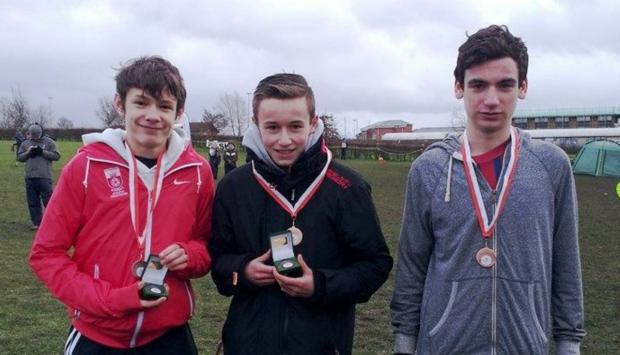 Sam Costley, Luke Powell and Patrick Whelan, of Southampton with their U15 boys third place team medals – Sam (10th) and Luke (7th) with individual medals.