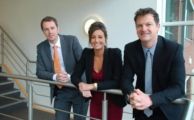 Hampshire Chronicle: Appoint Group founder Simon Berry, lead  recruitment consultant Erin Banner and Russell Mogridge, the business space director at commercial property consultancy Hughes Ellard