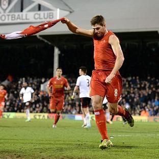 Steven Gerrard celebrates after hitting the winner