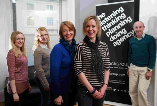 NEW PARTNERS: From left, Jasmine Chilcott, Lisa Hammerton and MD Sue Thomas all from Leepeckgroup, and Laura Coleman and trustee John Mills from the Rainbow Project.
