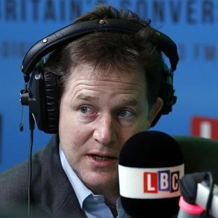 Hampshire Chronicle: The Deputy Prime Minister Nick Clegg takes part in the national 'Call Clegg' phone-in on LBC