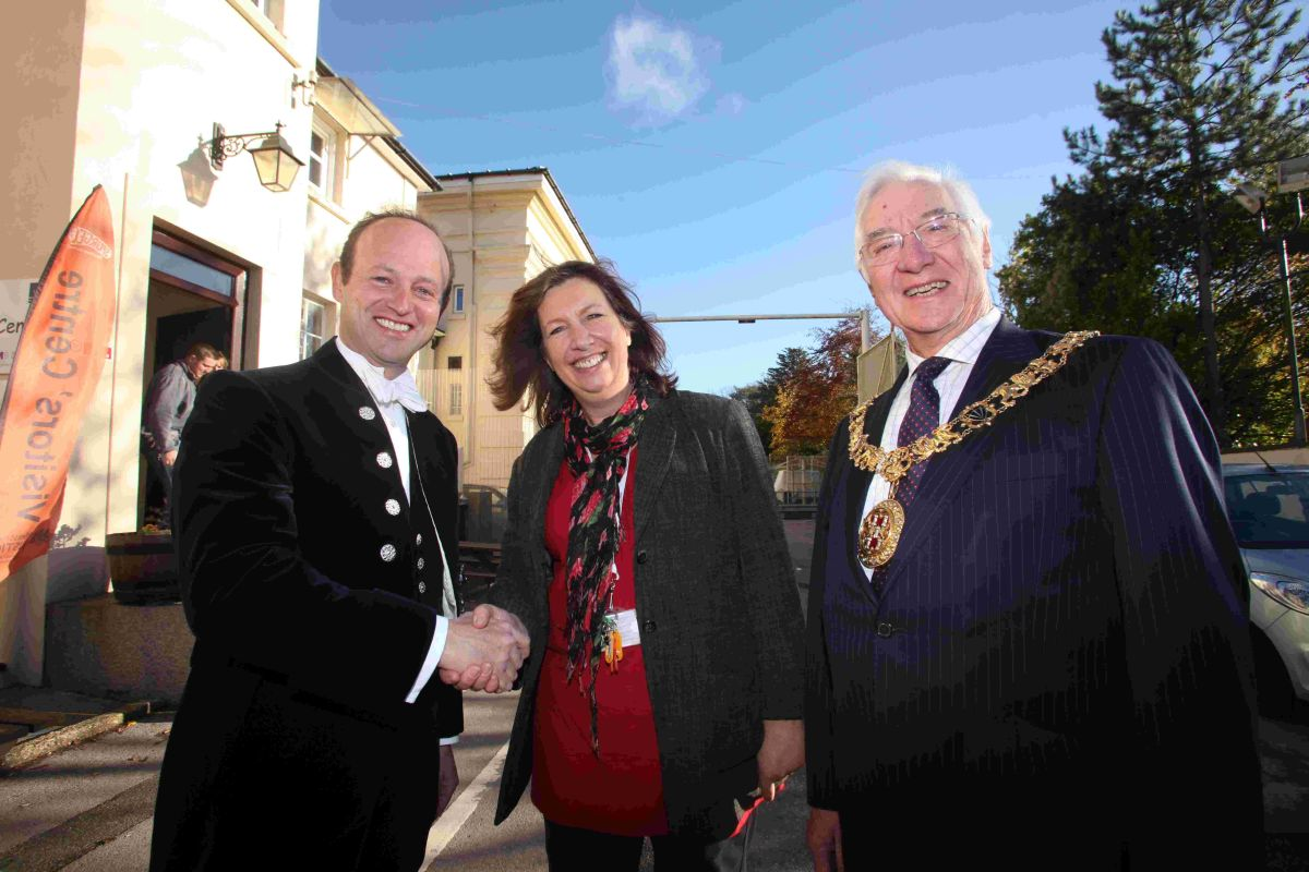The mayor of Winchester, Ernie Jeffs (right), and the High Sheriff of Hampshire, Rupert Young (left), presented an award Kelly Longhorn (centre) at an event last month.