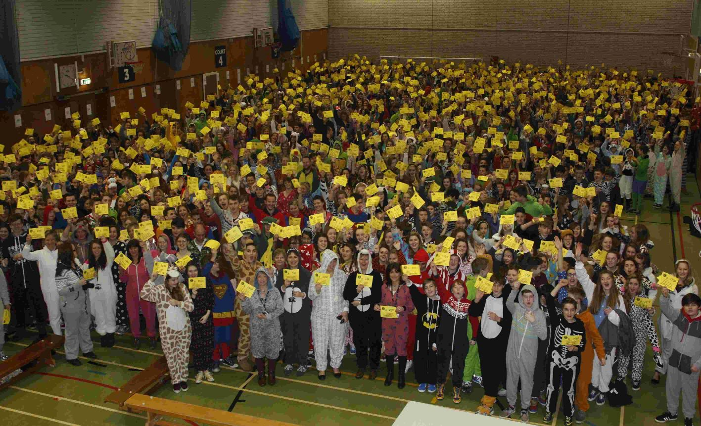Ringwood School pupils in their onesies in February