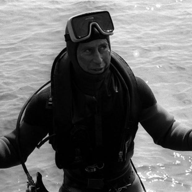 Hampshire Chronicle: The Prince of Wales surfaces after a dive to visit the wreck of the Mary Rose.