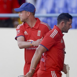 Stuart Broad, left, said England's last 10 overs in the field were decisive in their defeat to West Indies (AP)