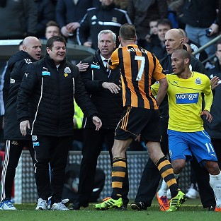 Newcastle United's manager Alan Pardew was sent to the stands after a confrontation with David Meyler