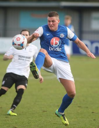 Ben Wright in action against Weston-super-Mare today.