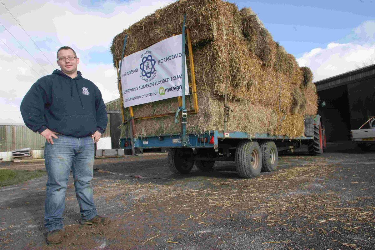 Beaulieu Young Farmer Chris Gray headed up the convoy of tractors taking hay and straw to farms in Somerset after collecting feed