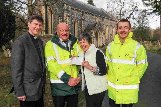 Clancy Docwra donated £400 to the Holy Trinity toilet appeal. Left to right: Revd Jonah Watts, Steve Maffe, Pam Glasspool, Graham Cleminson