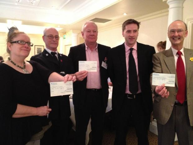 Hampshire Chronicle: Michelle Gardner ofTrinity, Frank Sanderson of the Salvation Army, Chris Turner of Winchester BID, Steve Brine MP and David Johnson of Night Shelter