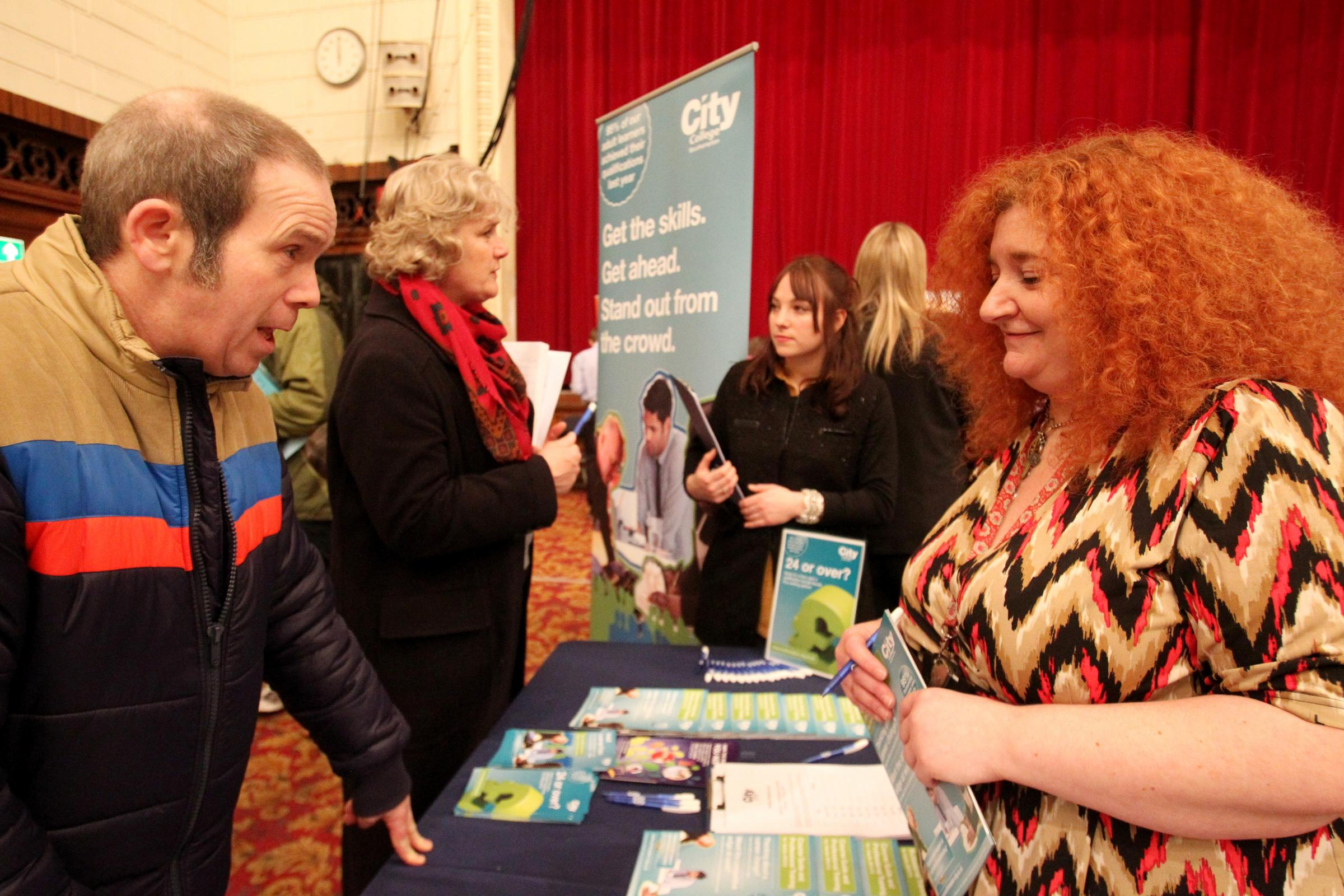 Nick Heimers talks to Audrey Coldwell-Holmes of City College, about retraining at last year's Daily Echo Jobs Fair.