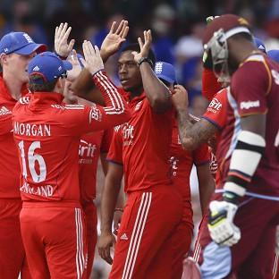 Chris Jordan, centre, produced a superb all-round display for England (AP)