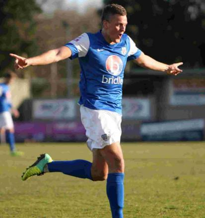 Ben Wright celebrates his hat-trick