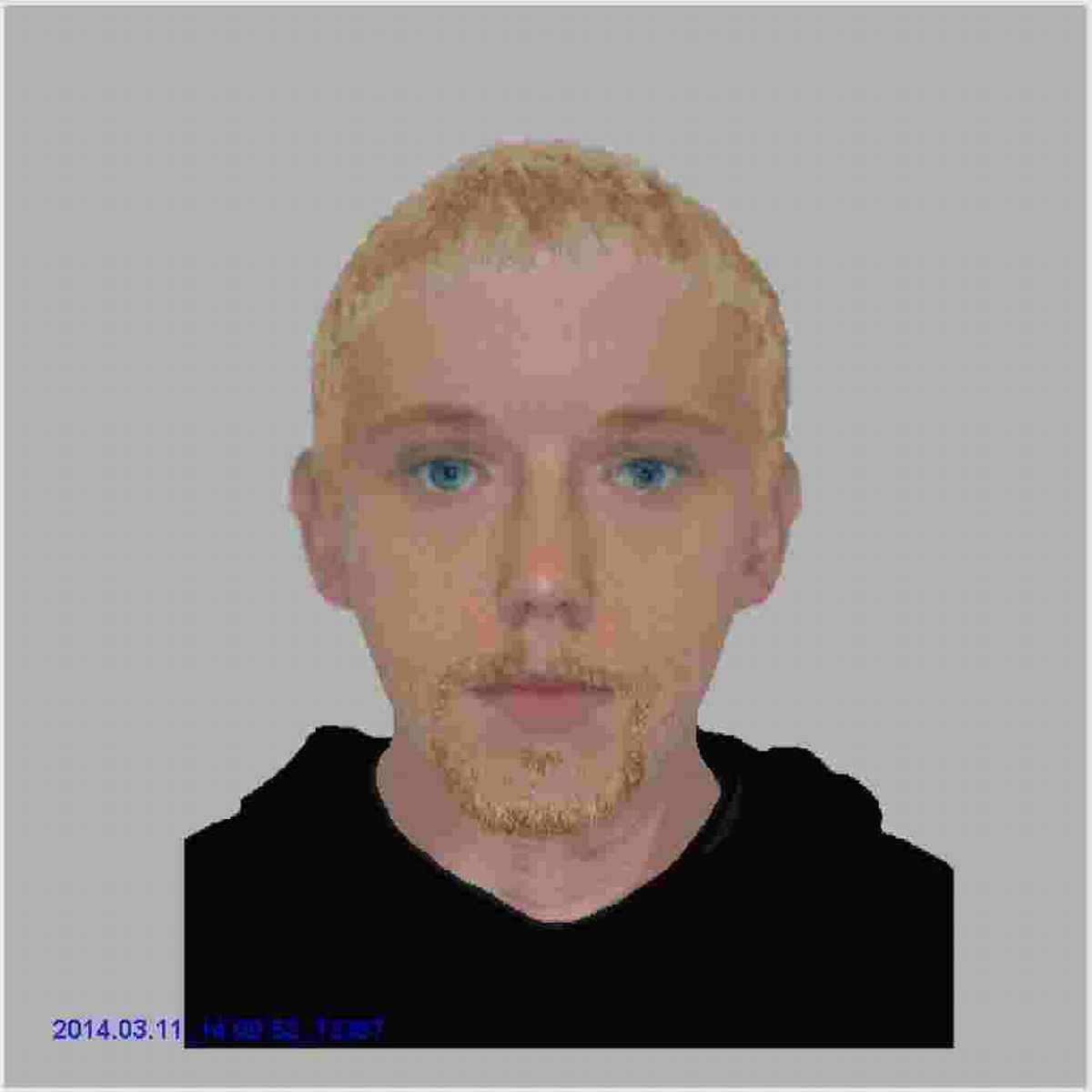 The man is described as white, in his mid 20's, 5ft 7ins tall, of a thin build with slightly wavy blonde/brown short hair.