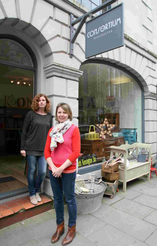 Hampshire Chronicle: Caroline Hawes and Mary Robinson outside the new shop on Jewry Street