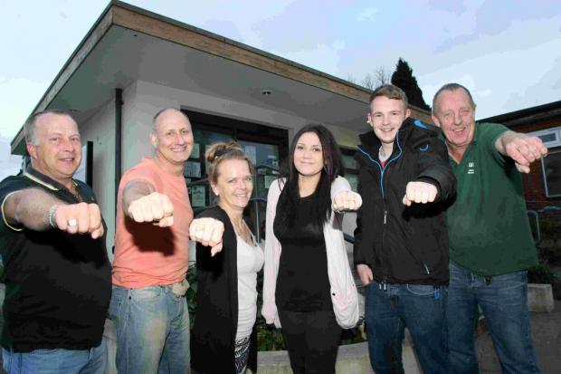 From left to right: Vice-chair of Winnall Social Club, Rod Forder, Craig Barnaby, Julie Pain, Sasha Clements, Simon Williams and Steve Statham.
