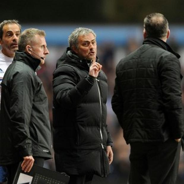 Hampshire Chronicle: Jose Mourinho, centre, was sent off during Chelsea's defeat at Aston Villa last Saturday