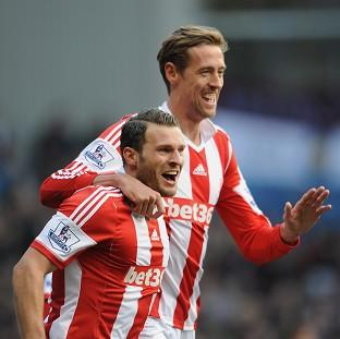Hampshire Chronicle: Peter Crouch, right, was on target in Stoke's crushing win at Villa Park