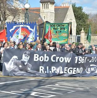 Hampshire Chronicle: Tributes to Bob Crow outside the City of London Cemetery and Crematorium