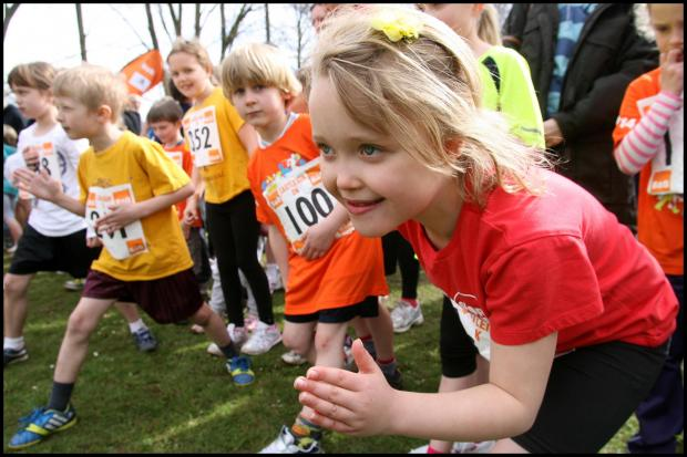 Hampshire Chronicle: Simone Conradie, 7, gets ready to start yesterday's fun run that followed the main Eastleigh 10k race.