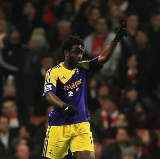 Swansea City's Wilfried Bony celebrates scoring the opening g