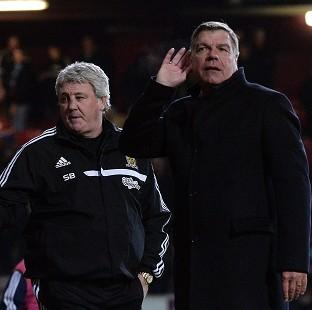 Hampshire Chronicle: Sam Allardyce, right, was unhappy with the full-time boos