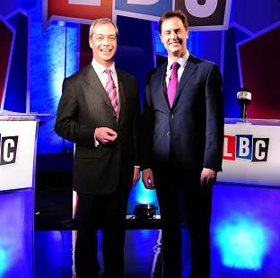 Hampshire Chronicle: Nick Clegg, right, and Nigel Farage are preparing for their second televised debate