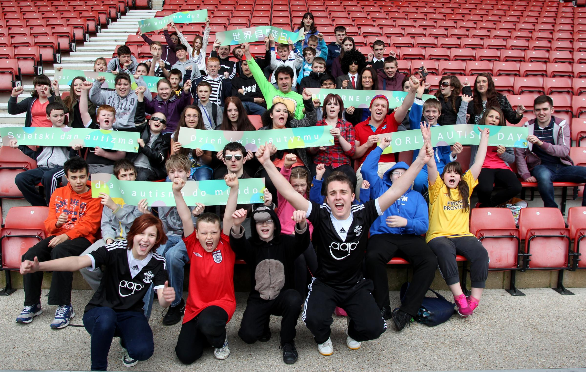 Bitterne Park School pupils celebrate World Autism Day at St Mary's Stadium.