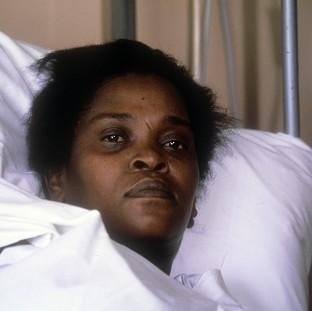 Cherry Groce at St Thomas' Hospital, London, after she was accidentally shot by police in Brixton, south London