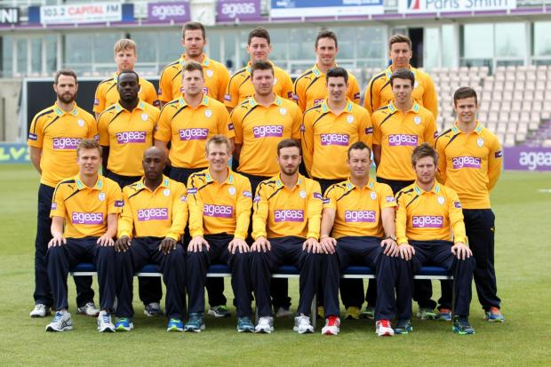 Hampshire Cricket 2014 (Natwest T20 Blast kit): BACK (l-r); Wheater, Gatting, Terry, Smith, Bates; MIDDLE; Tomlinson, Brathwaite, Balcombe, Coles, Wood, Barber, McManus. FRONT; Briggs, Carberry, Adams, Vince, Ervine, Dawson.