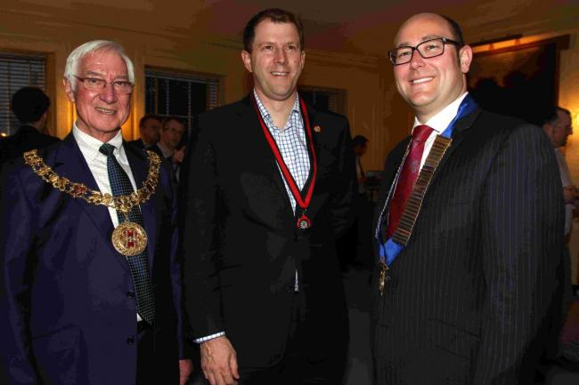 Mayor of Winchester, Cllr Ernie Jeffs (left) with bonfire chairman Roger Jones (centre) and former chairman, John Leeson (right).