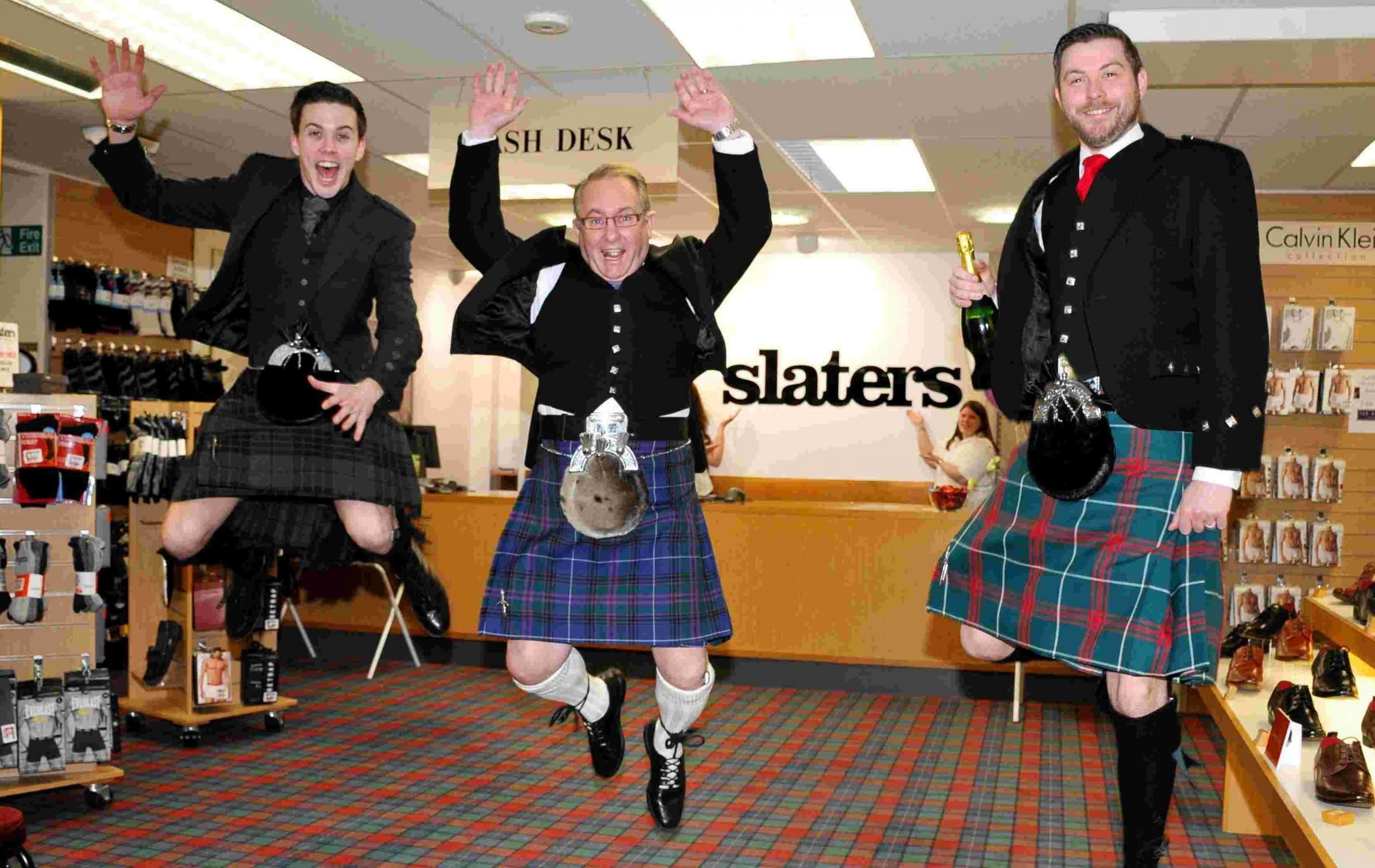 L-R: James McKenzie, Peter John and Thomas Bebb celebrate Slaters' 10 th anniversary of being in Basingstoke