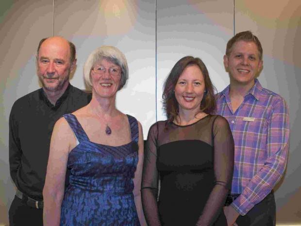 Stewart Carr and his wife, Lesley (left and second from left) with Juliet Alexander and Pieter du Toit