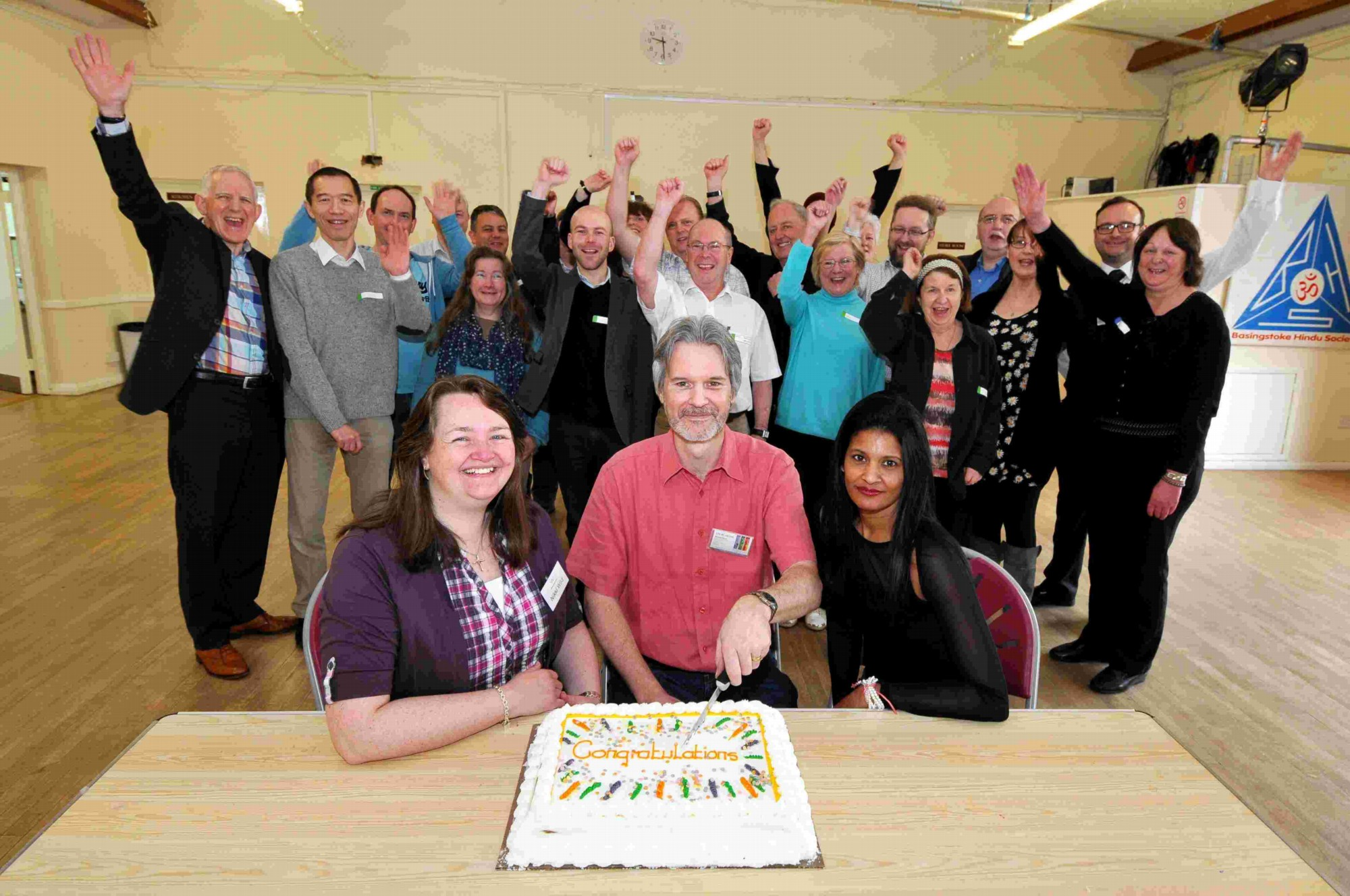 L-R: Nikki Wild, Richard Thayer and Elaine Gray celebrate the M3 Job Club's move to Carnival Hall