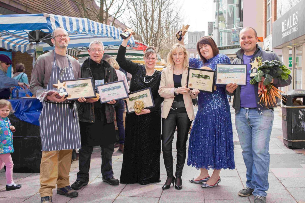 Left to right: Dagan James of Broughton Water Buffalo, Steve Lines of Mud Pies, Hayley Dunn of The Flour Stall, Alex Handford Business  Manager for Hampshire Farmers' Markets, Jo Burch of The Flour Stall and  Vl