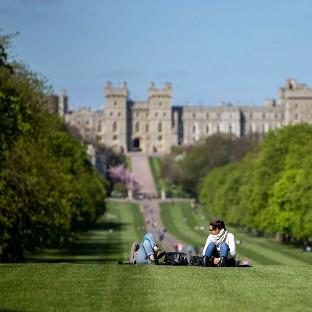 Visitors enjoy the sunshine near Windsor Castle in Berkshire