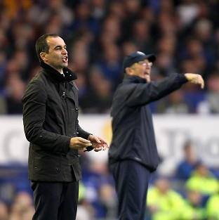 Everton manager Roberto Martinez, foreground, was hurting after defeat to Tony Pulis' Crystal Palace