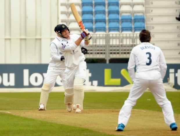 Joe Gatting hammers a six off Wes Durston today