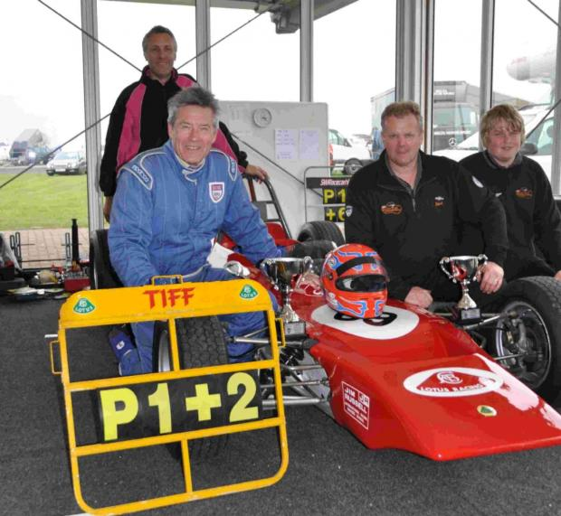 Triumphant Tiff Needell with his 1971 Formula Ford and Thruxton team