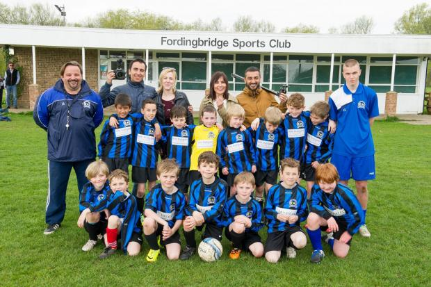 The Turkish tv crew with some of the Fordingbridge U9 team