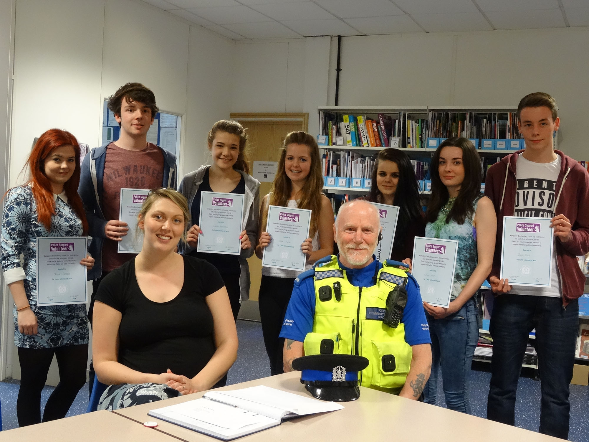 SAFETY: Students Jessica Campbell, Daniel Sharpe, Lauren Baverstock, Eleanor Simms, Jess Hemmings, Emily Dixon and James Davis with Laura Fisher and PCSO Bob Finch